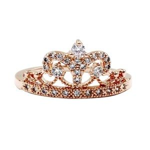 Rose gold  aesthetic group of crown ring